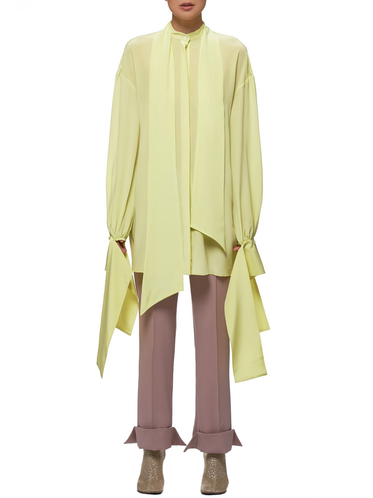 Draped Cuff Blouse (R0CA67-S-ACID-LEMON)