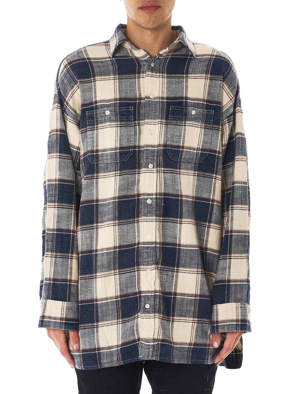 Oversized Flannel Shirt (R13M7102-ECRU-PLAID)