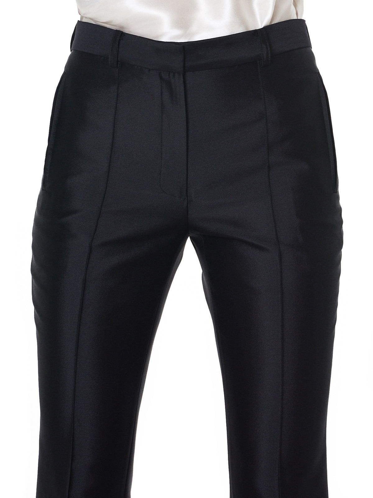Pleated Satin Trouser (R1CA28-WM-BLACK)