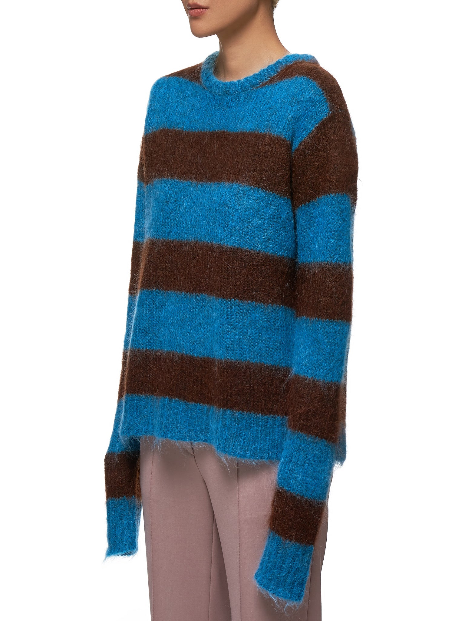 Chunky Mohair Sweater (R3CA16-MH-TURQUIOSE-COMBO)