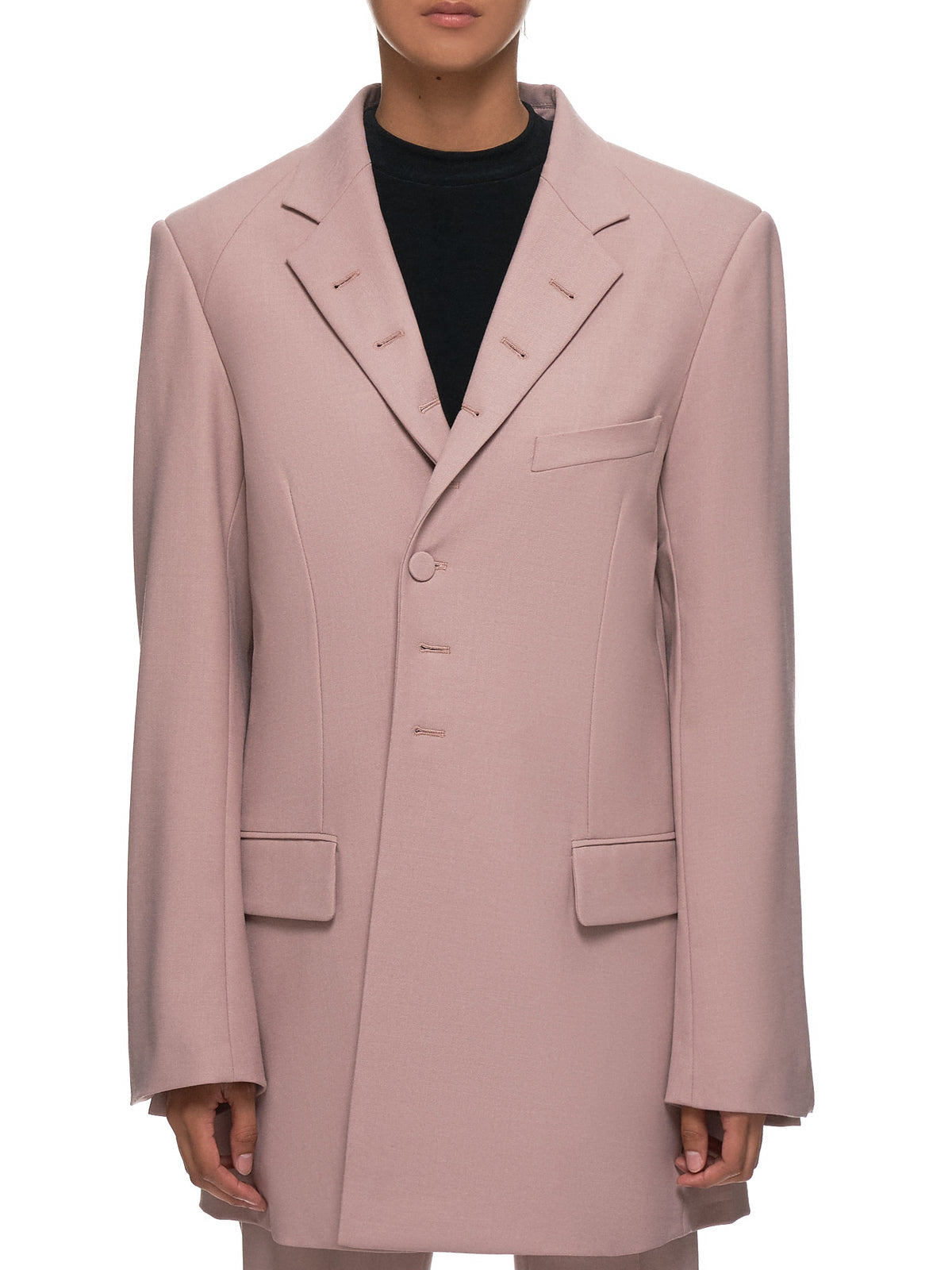 Oversized Button Hole Blazer (R5CA42-WM-ASH-PINK)