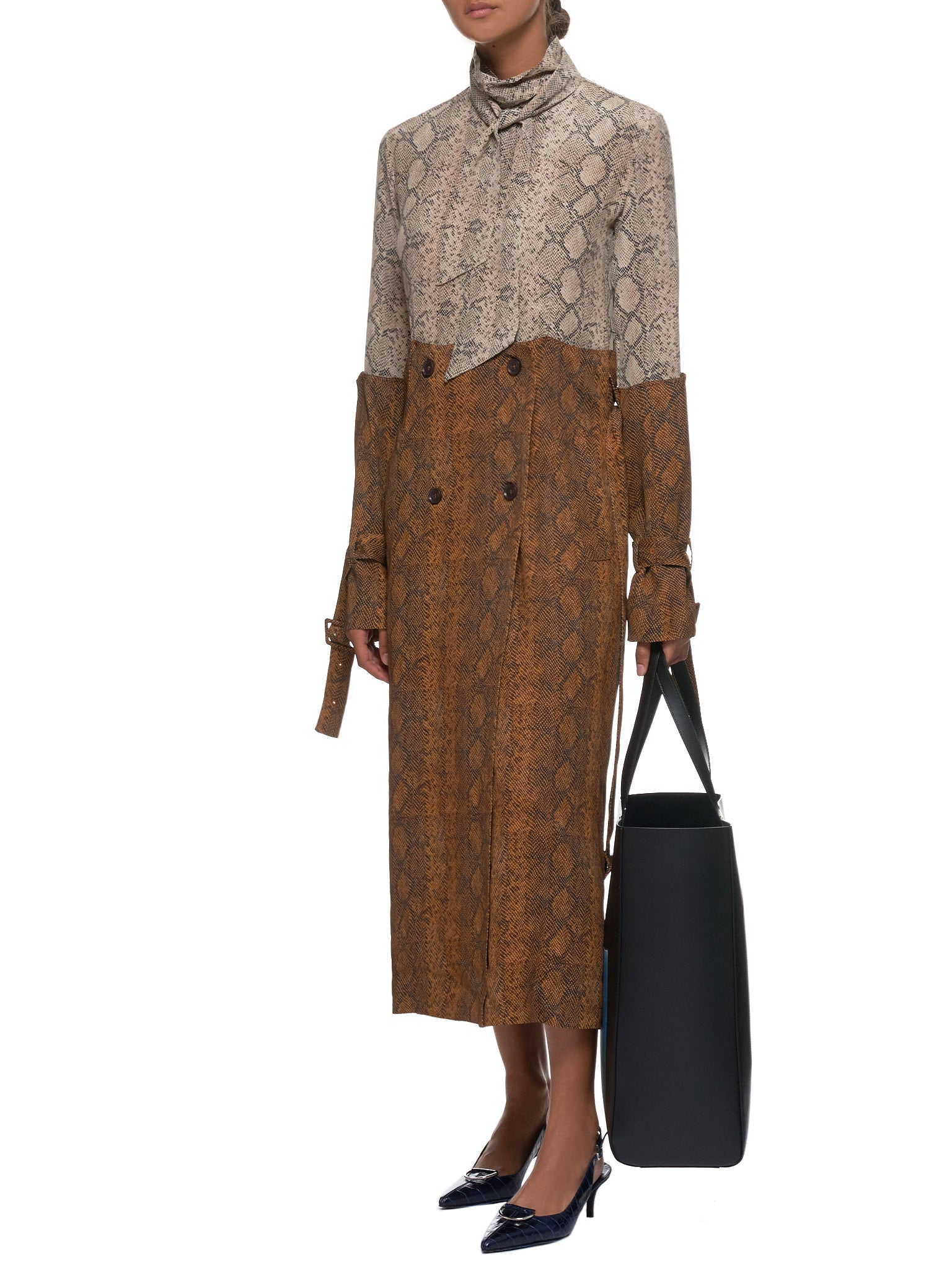 Contrast Trench Dress (R6CA85-CDC-BROWN)