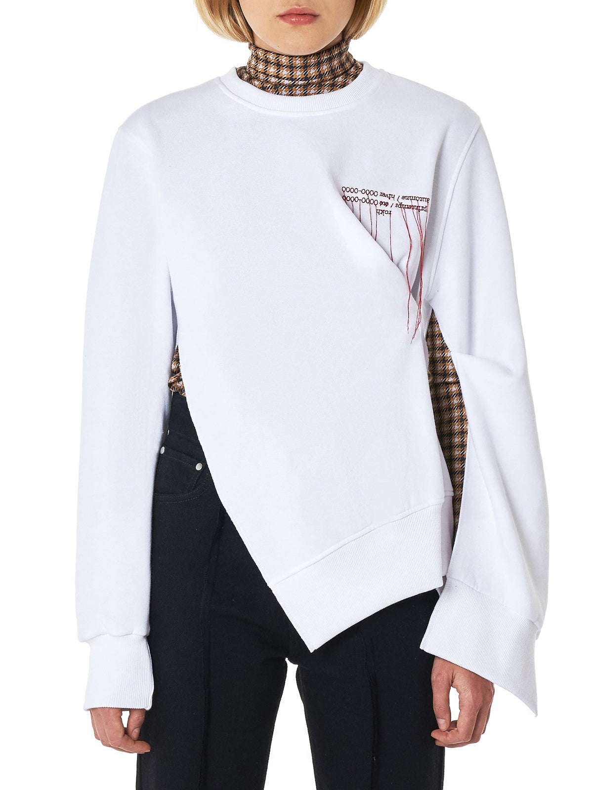 Pinched Embroidered Pullover (R9CA11-CT-WHITE)