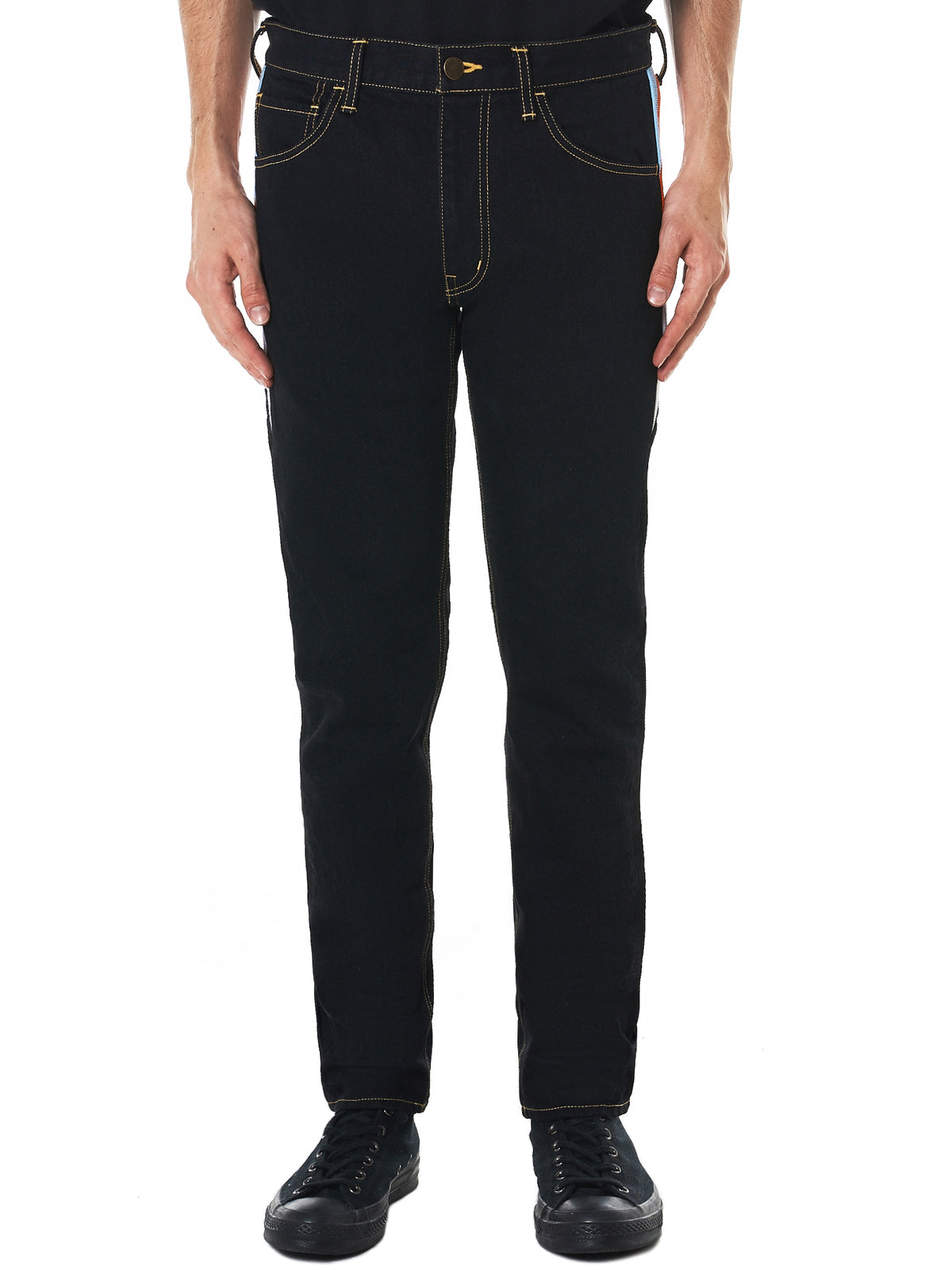 Ribbed Panel Denim Pants (RB-PT-U01-BLACK)