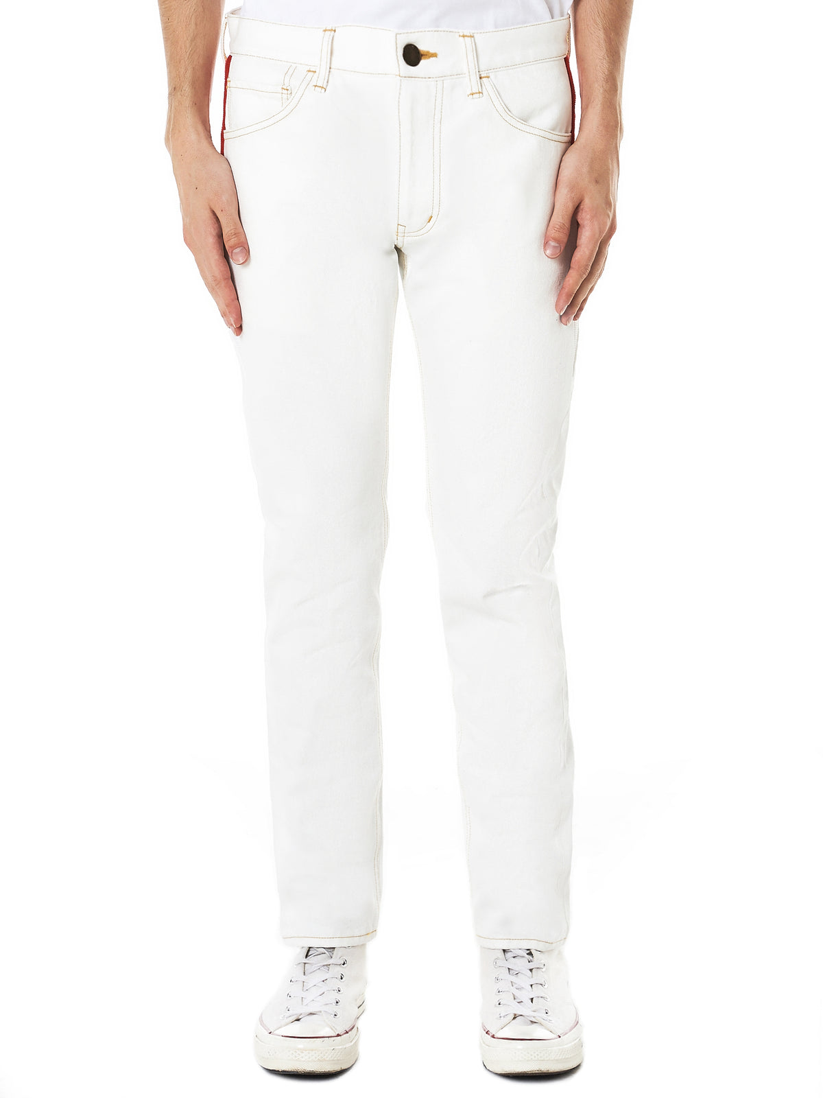 Ribbed Panel Denim Pants (RB-PT-U01-WHITE)