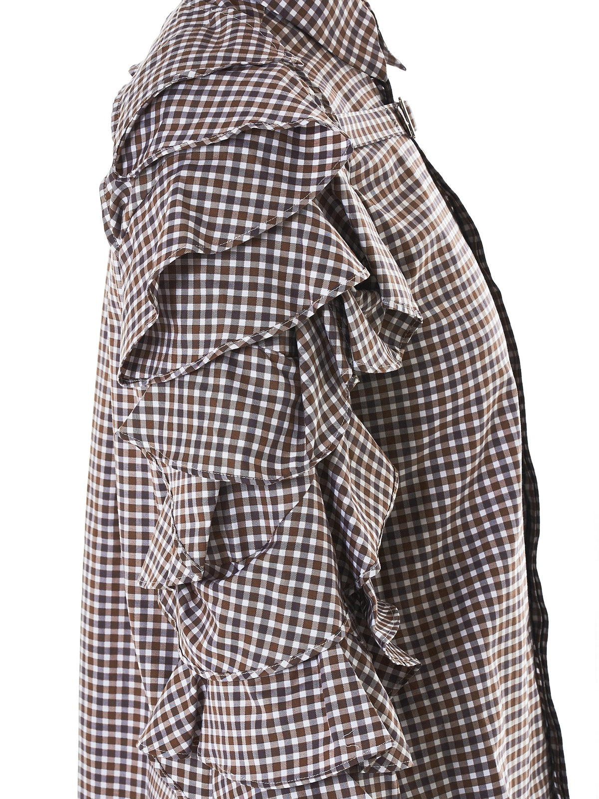 Tiered Ruffle Sleeve Check Shirt (RB-SH-W05-BROWN-CHECK)