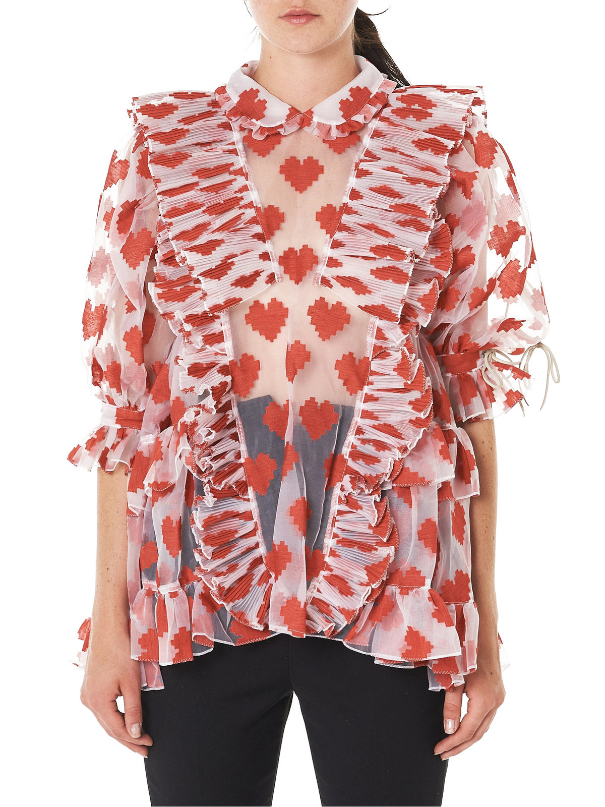 Digitized Hearts Blouse (RBOPW06-RED)