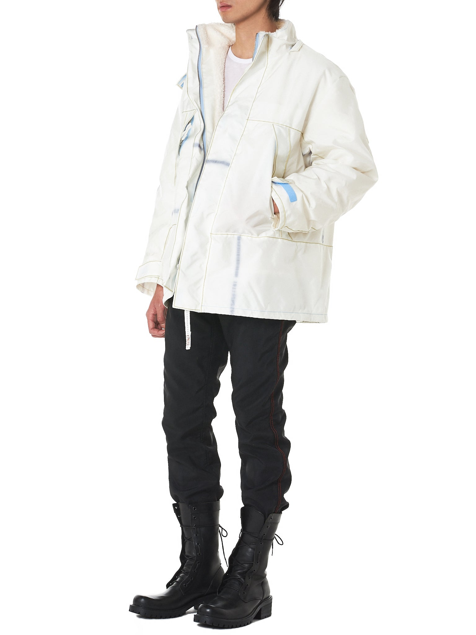 Faux Fur Hooded Windbreaker (RMA18AWJK02-OFF-WHITE)