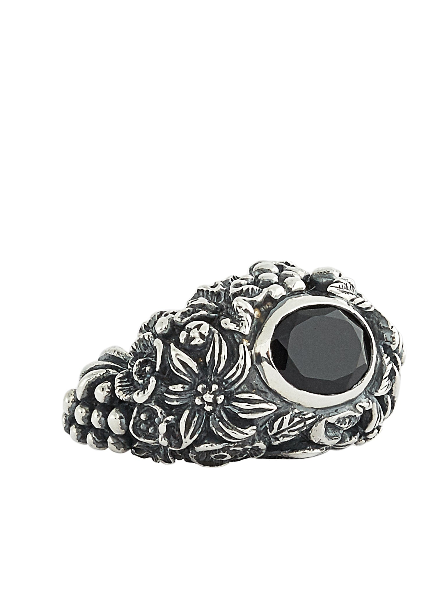 Gem & Foliage Solitary Ring (RN092-AGN-ONYX)