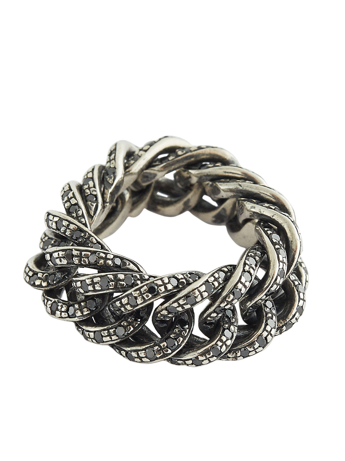 Chain Gems Ring (RN114-AGN-BLACK-DIAMONDS)