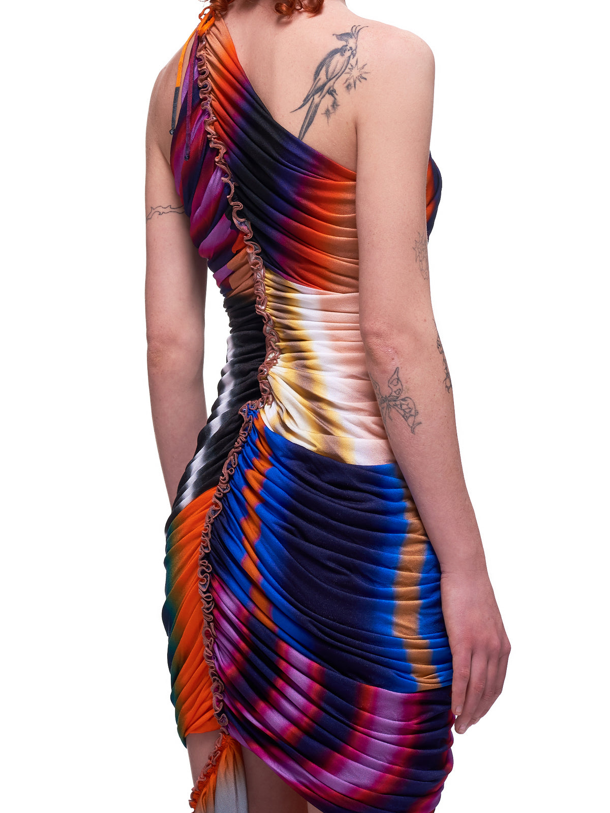 Ruched Gradient Dress (RO1214-RAINBOW-STRIPES)
