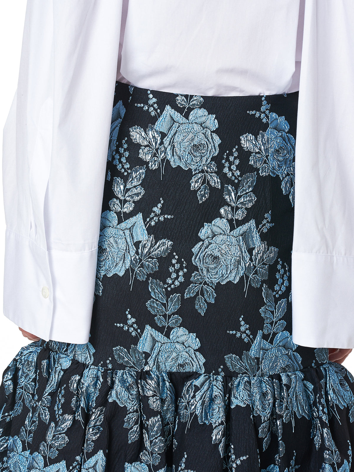 Metal-Embroidered Rose Skirt (ROSE-JQ3540-ICE-BLUE)