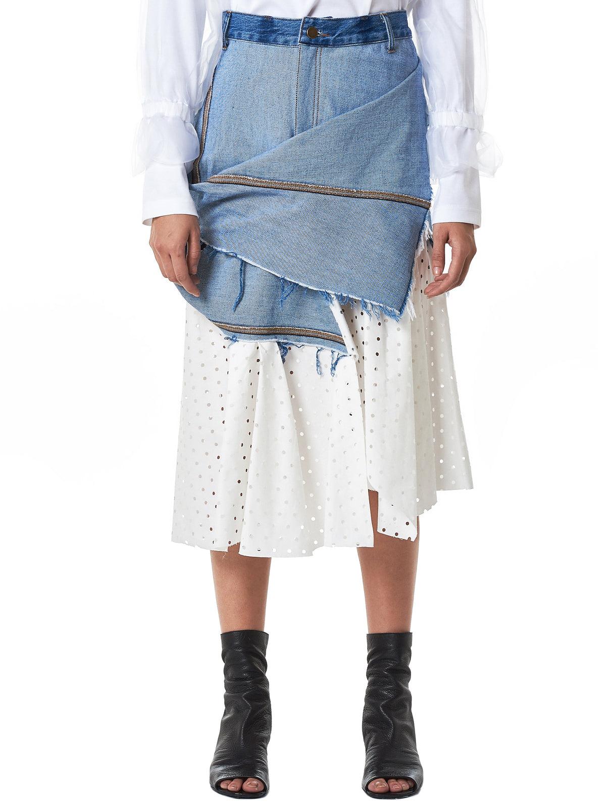 Composite Denim Skirt (S01S19LL-BLUE-WHITE)