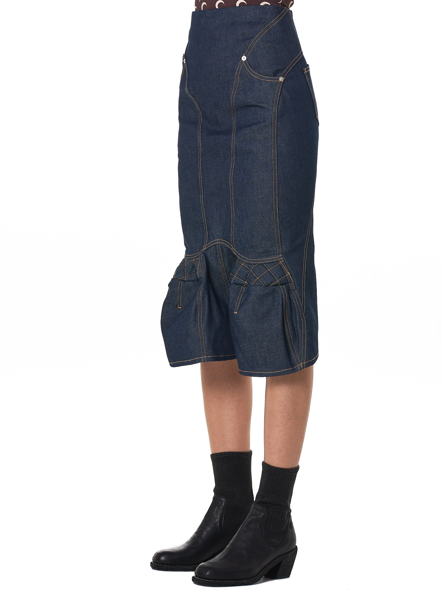 Marine Serre Denim Skirt - Hlorenzo Side