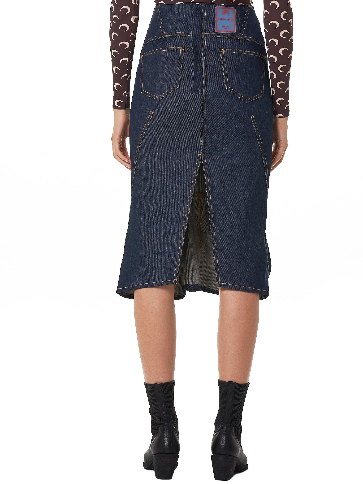 Marine Serre Denim Skirt - Hlorenzo Back