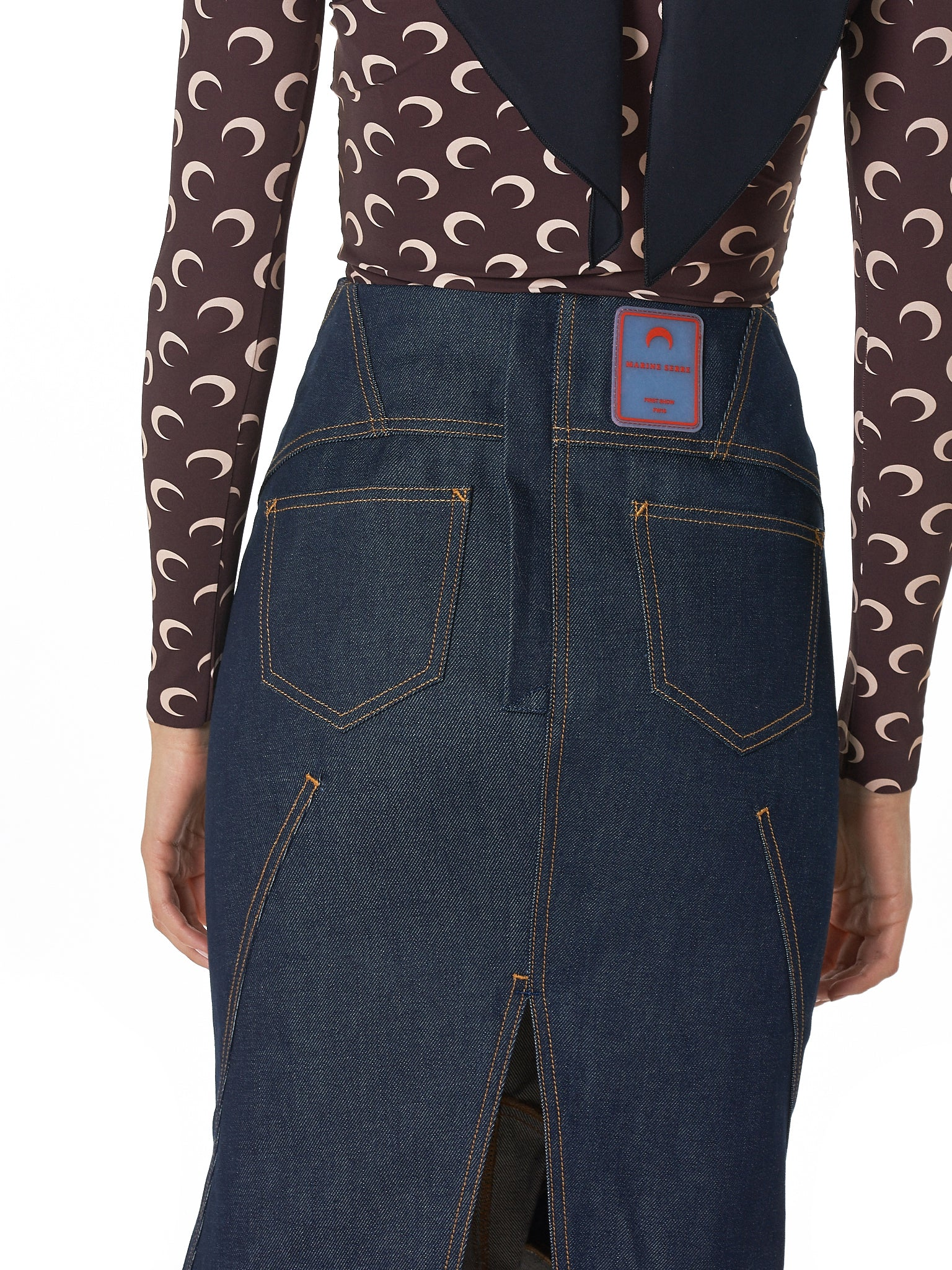Marine Serre Denim Skirt - Hlorenzo Detail 1