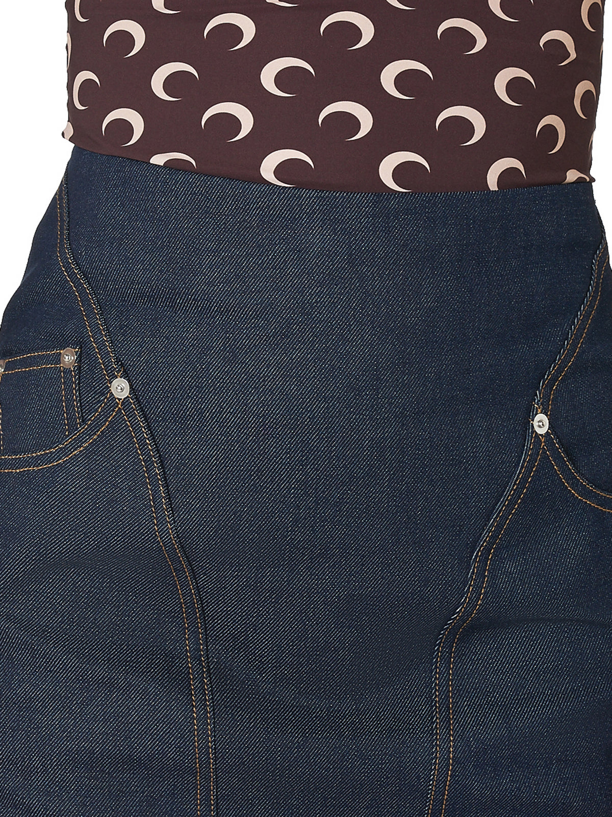 Marine Serre Denim Skirt - Hlorenzo Detail 2