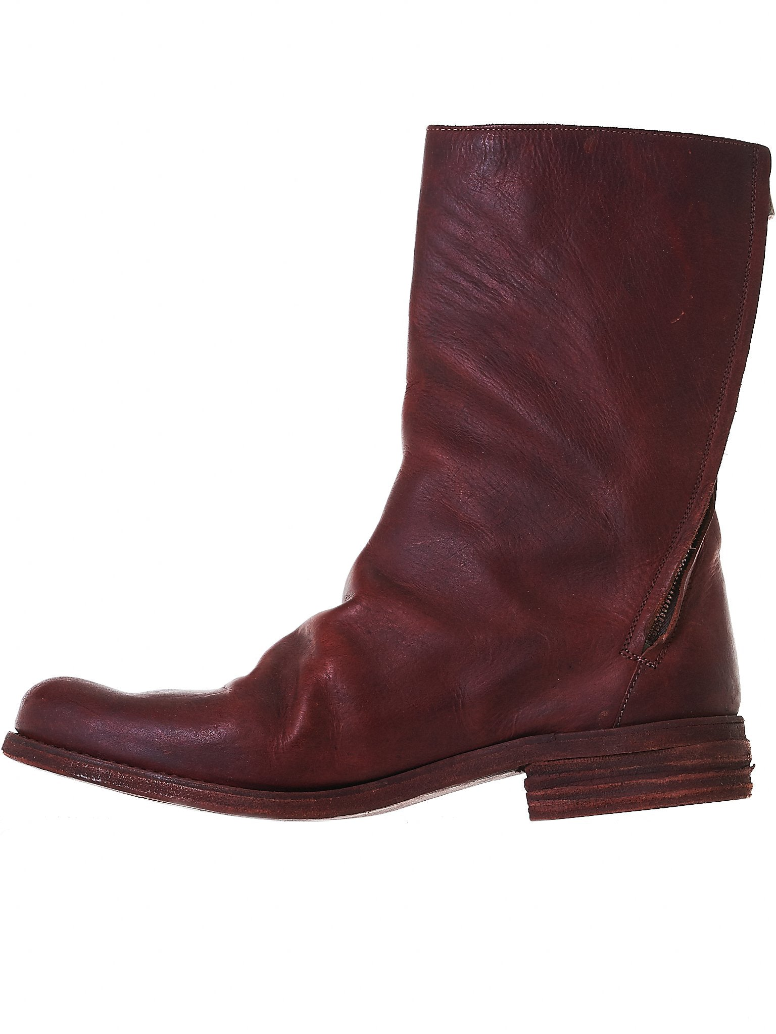 Zipped Leather Boots (S14 TZ1 VITELLO-CALF ROSSO)