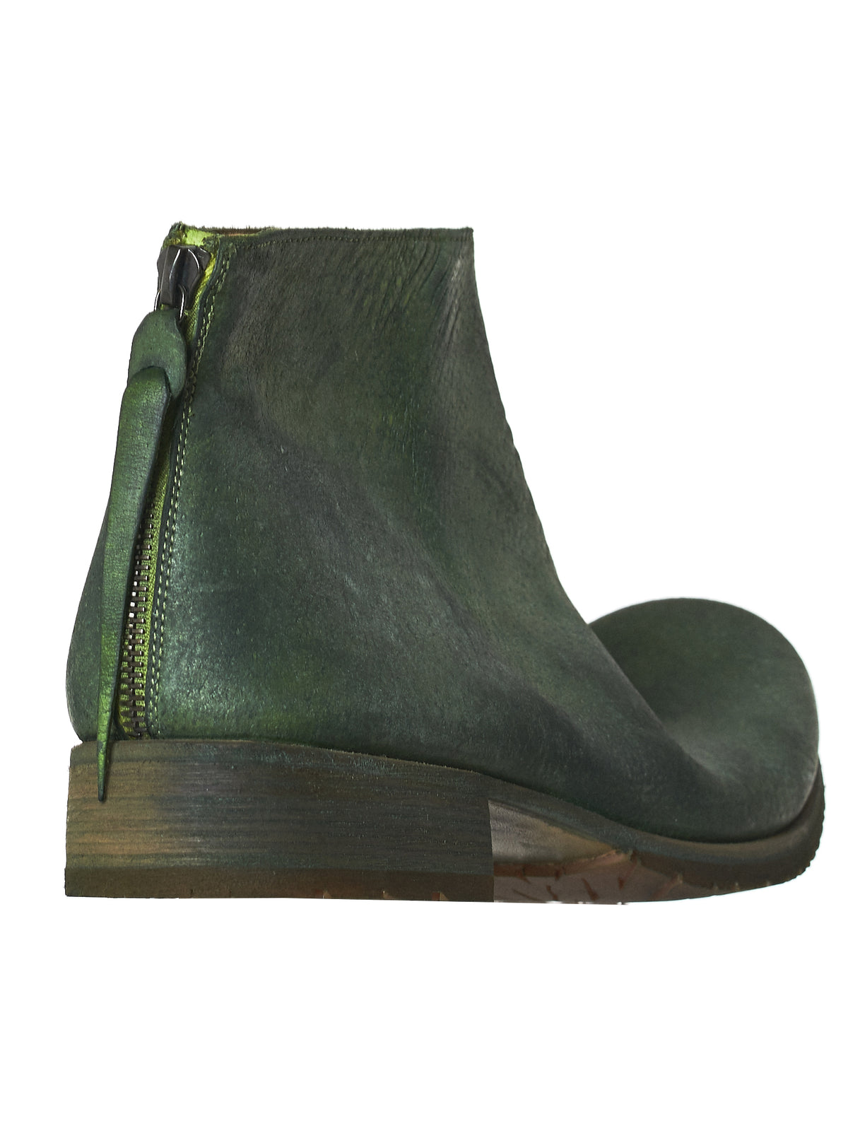 Rear Zip Leather Boots (S1N21Z-R-MAVA-R-MACAW-GREEN)