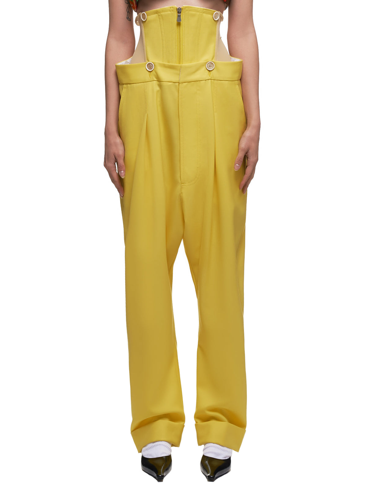 High Waisted Corset Trousers (S26KA0286-0172SF-YELLOW)