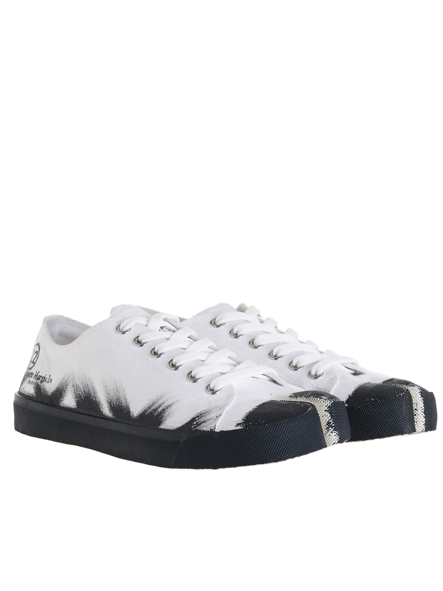 Painted Low-Top Canvas Sneakers (S37WS0495-P3719-WHITE-BLACK)