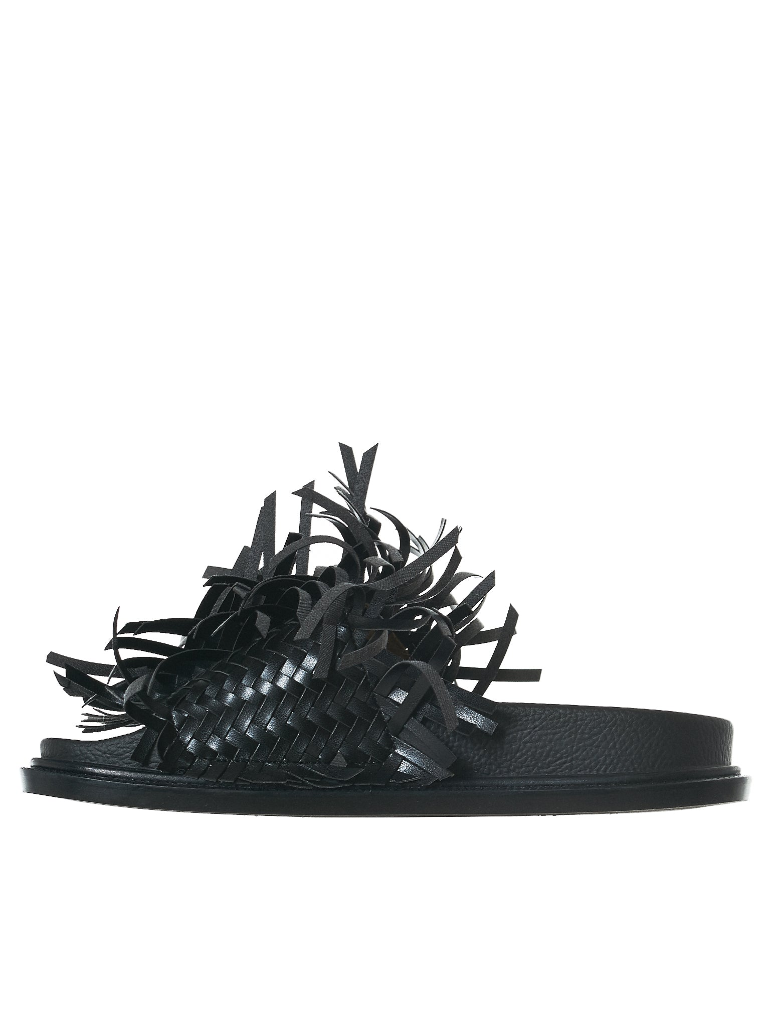 Fringed Leather Slides (S40WX0011-900)
