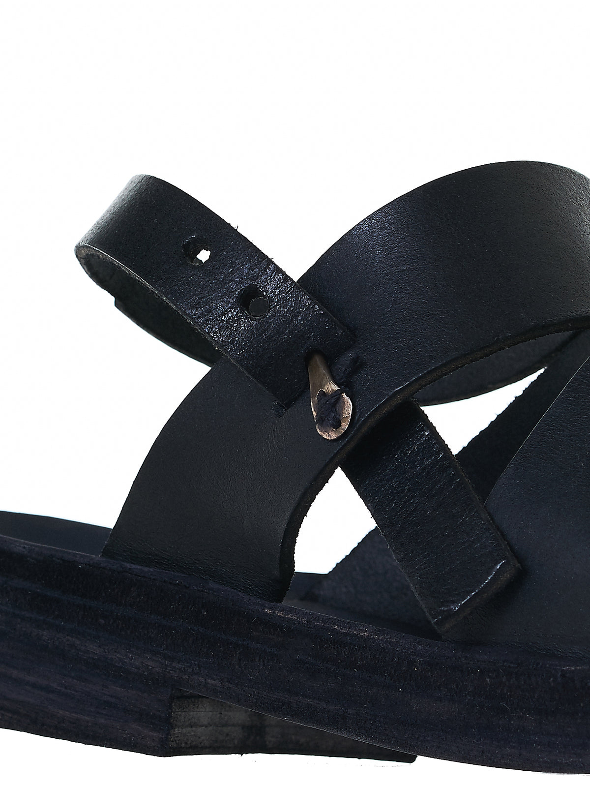 Buckled Leather Sandals (S4S4 GR 3.0 BLACK)