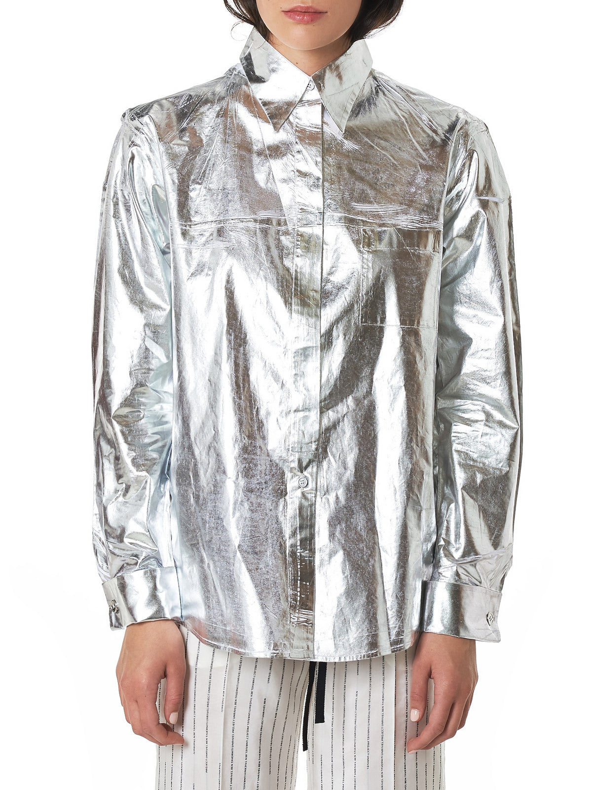 MM6 Maison Margiela Metallic Shirt - Hlorenzo Front