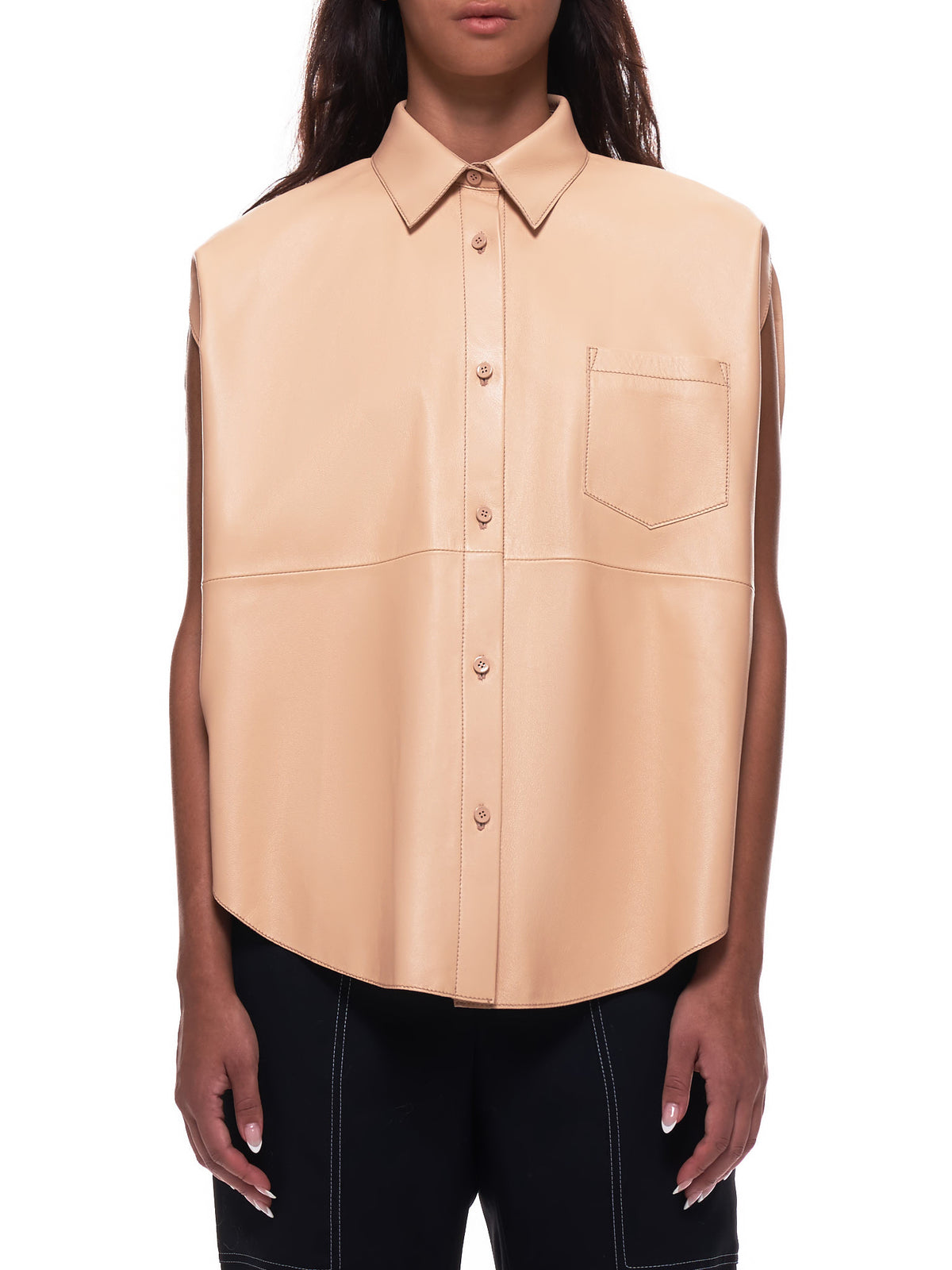 Leather Circle Blouse (S62DL0038-SY1363-NUDE)