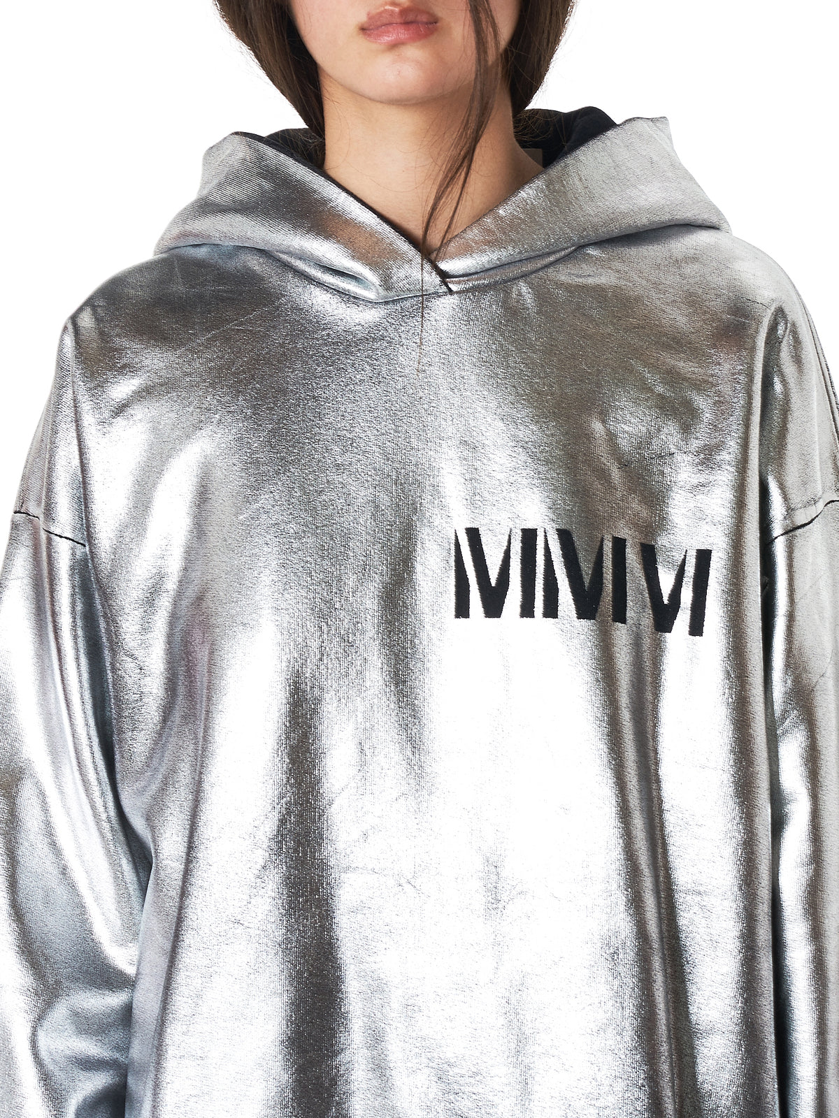 MM6 Maison Margiela Metallic Hoodie - Hlorenzo Detail 2