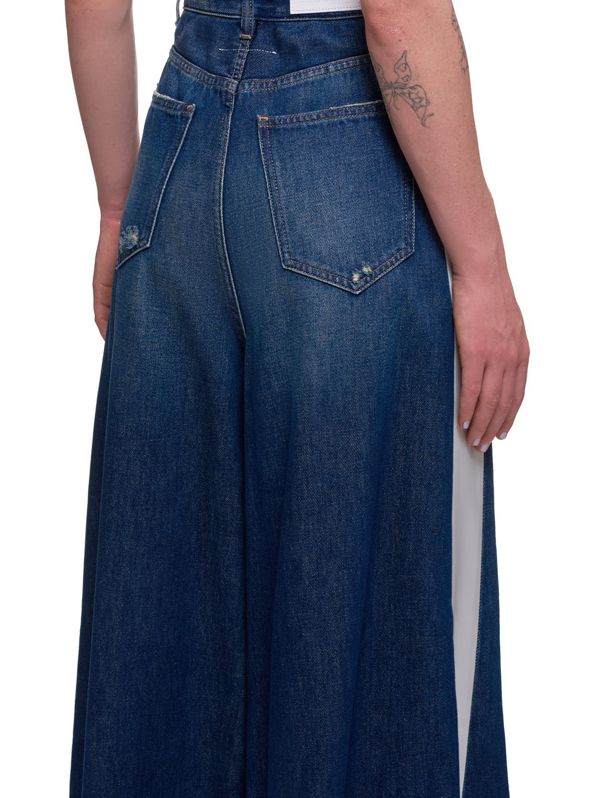 Flared Wide Leg Trousers (S62LB0041-S30460-BLUE-WHITE)