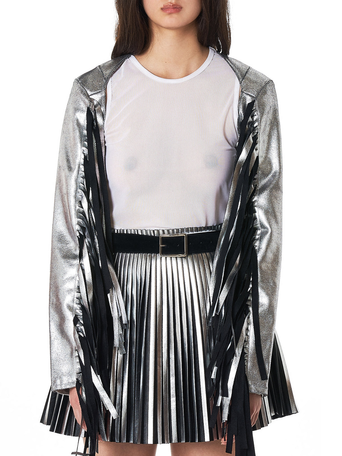 MM6 Maison Margiela Metallic Fringed Sleeves- Hlorenzo Front