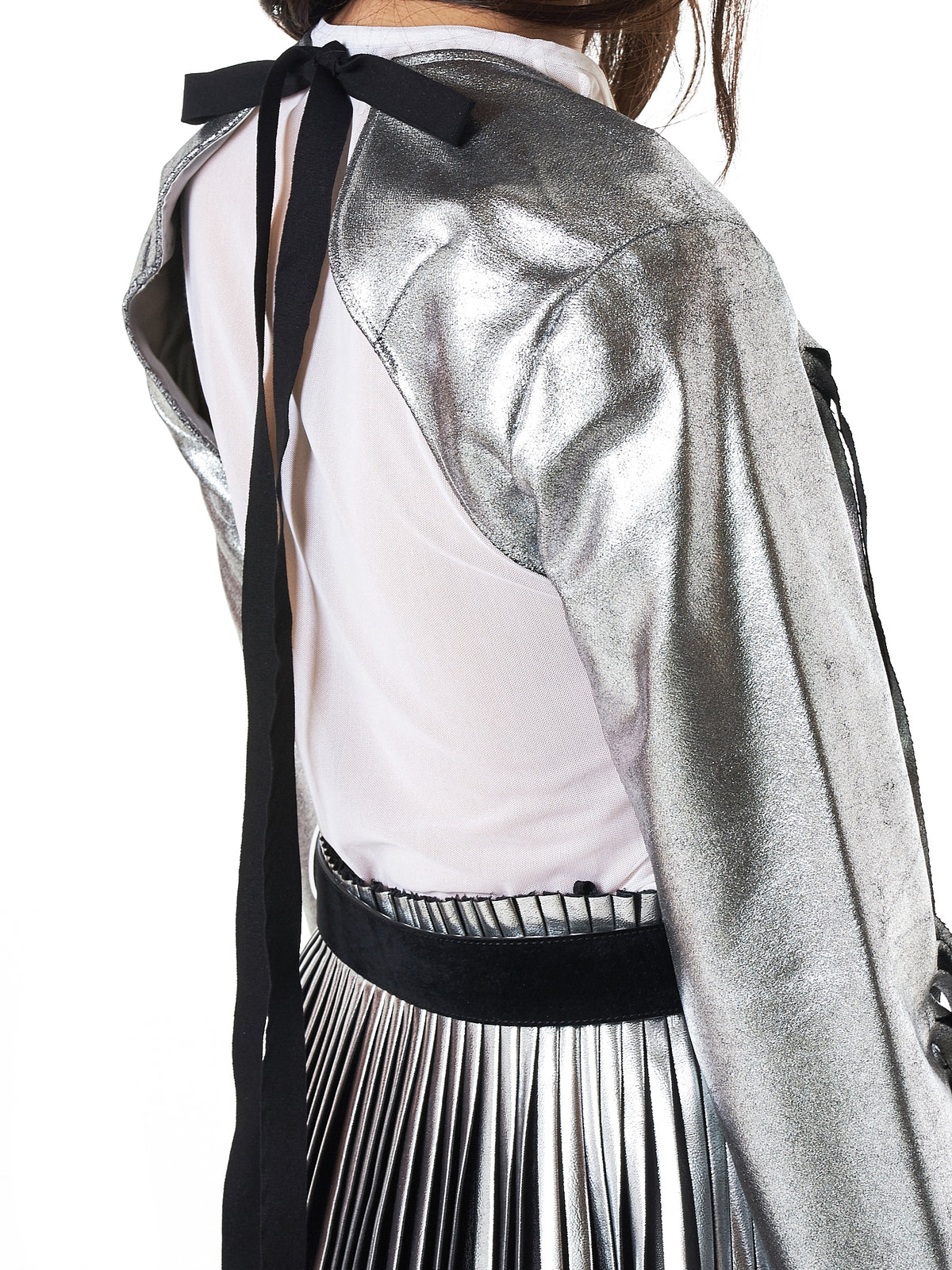 MM6 Maison Margiela Metallic Fringed Sleeves- Hlorenzo Detail 2