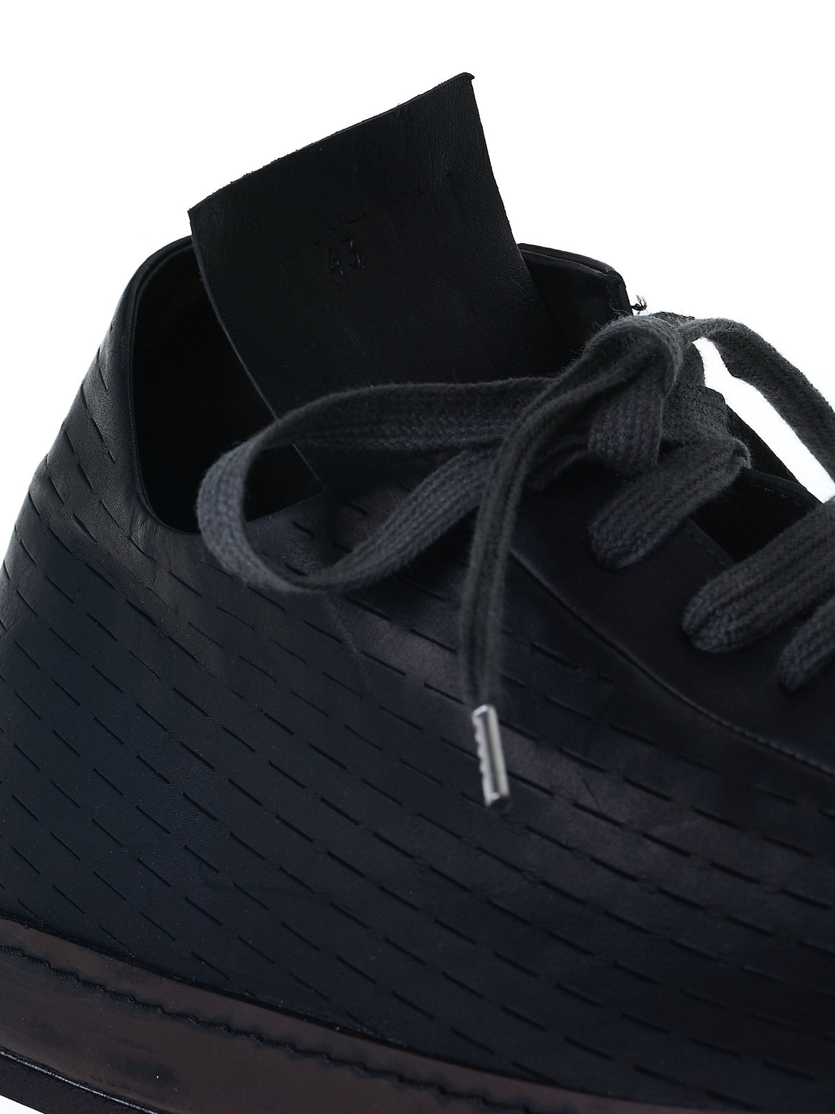 Perforated Leather Trainers (S7-KANGAROO-OIL-BLACK)