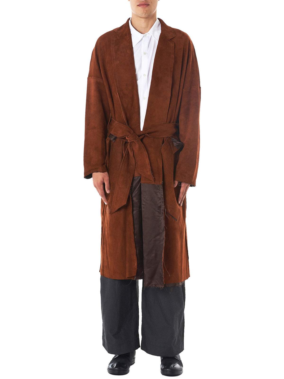 Open Felt Suede Trench Coat (SG-C04-900-BROWN)