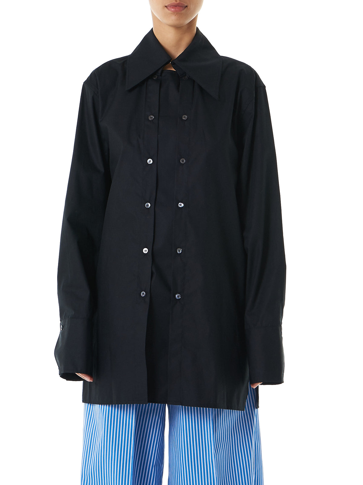 'Exaggerated' Collar Button-Down (SH02-W-BLACK) - H. Lorenzo