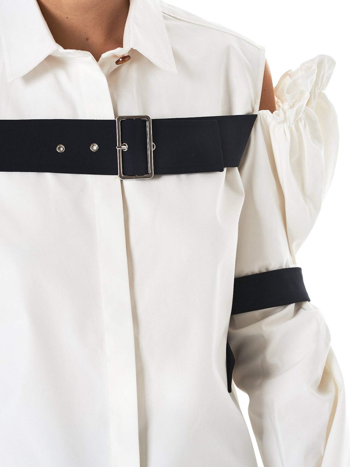 Cutaway Belted Shirt (SH04-CO07-WHITE)