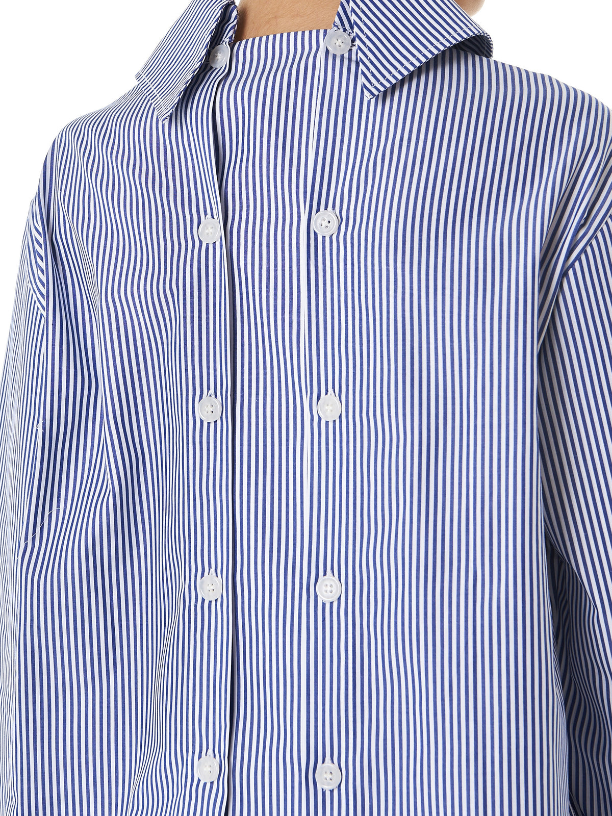 'Exaggerated' Collar Button-Down(SH04-W-STRIPES-NAVY-WHITE) - H. Lorenzo