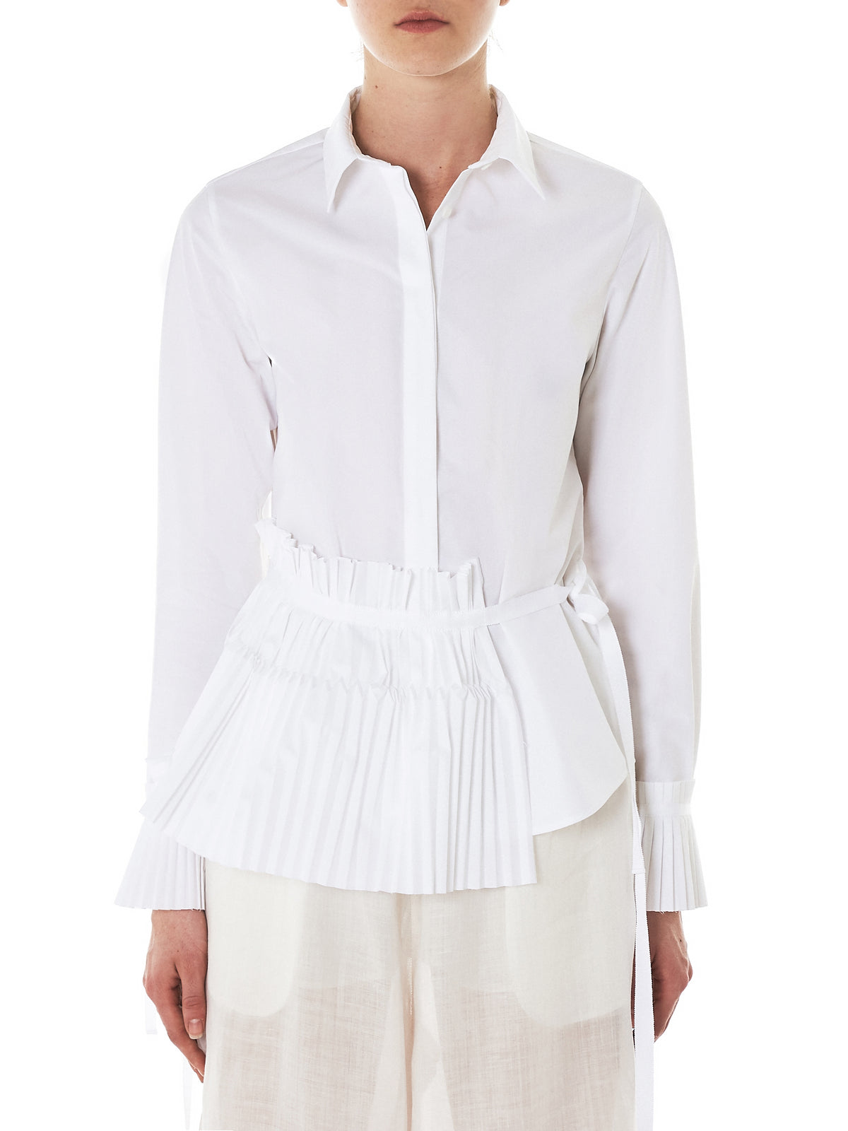 Shanshan Ruan Pleat Shirt - Hlorenzo Front