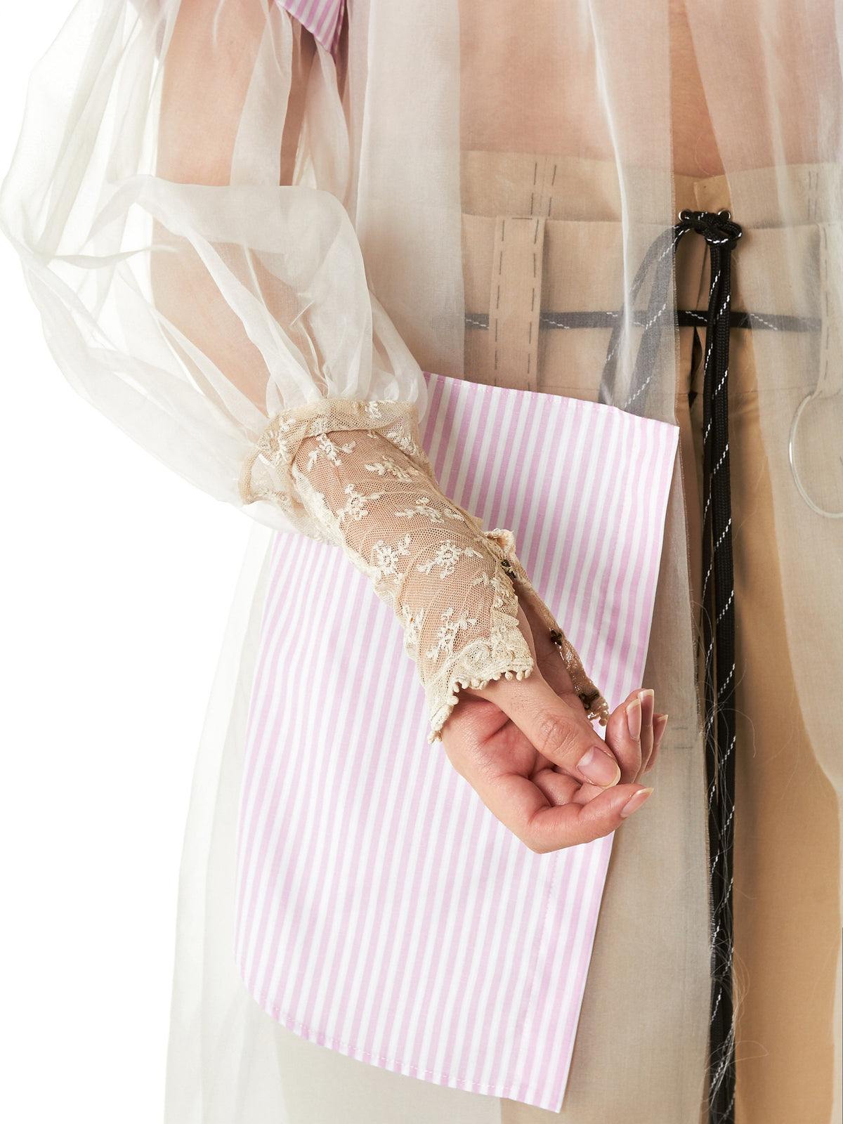 Lace Organza Striped Coat (SHIRT-GOWN-SHORT-PINK-WHT) - H. Lorenzo