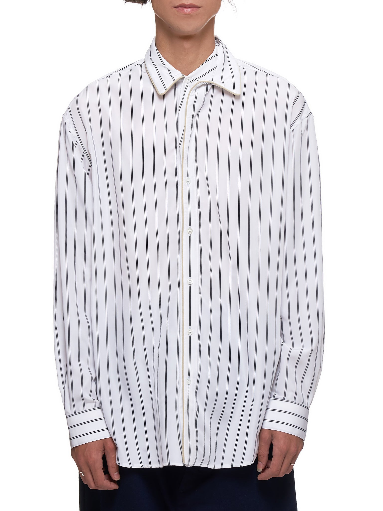Striped Shirt (SHIRT24B-S17-F03-WHITE-BLACK)