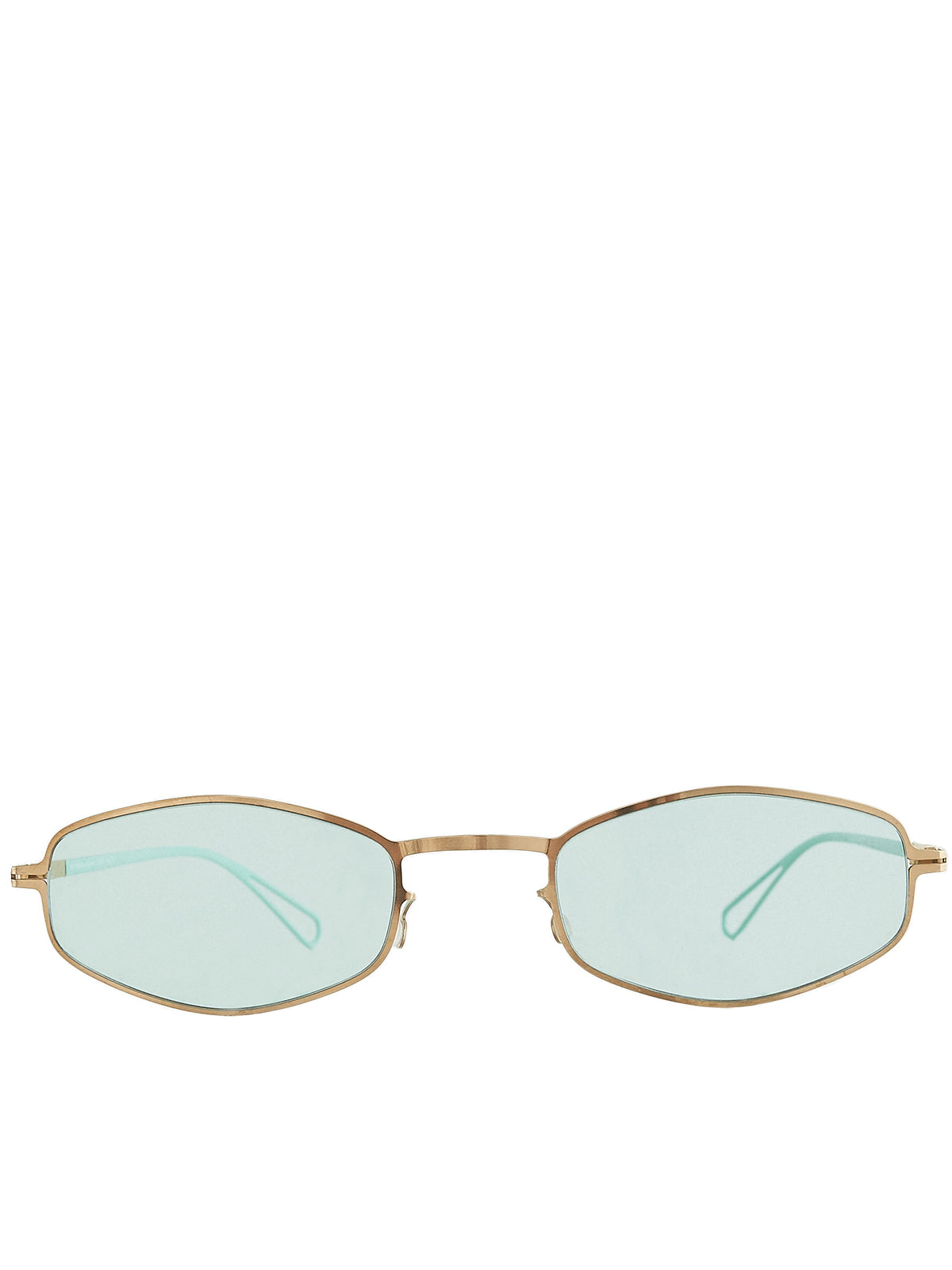 'Silver' Oval-Frame Sunglasses (SILVER-CHAMPAGNEGOLD-POW-9-GRN)