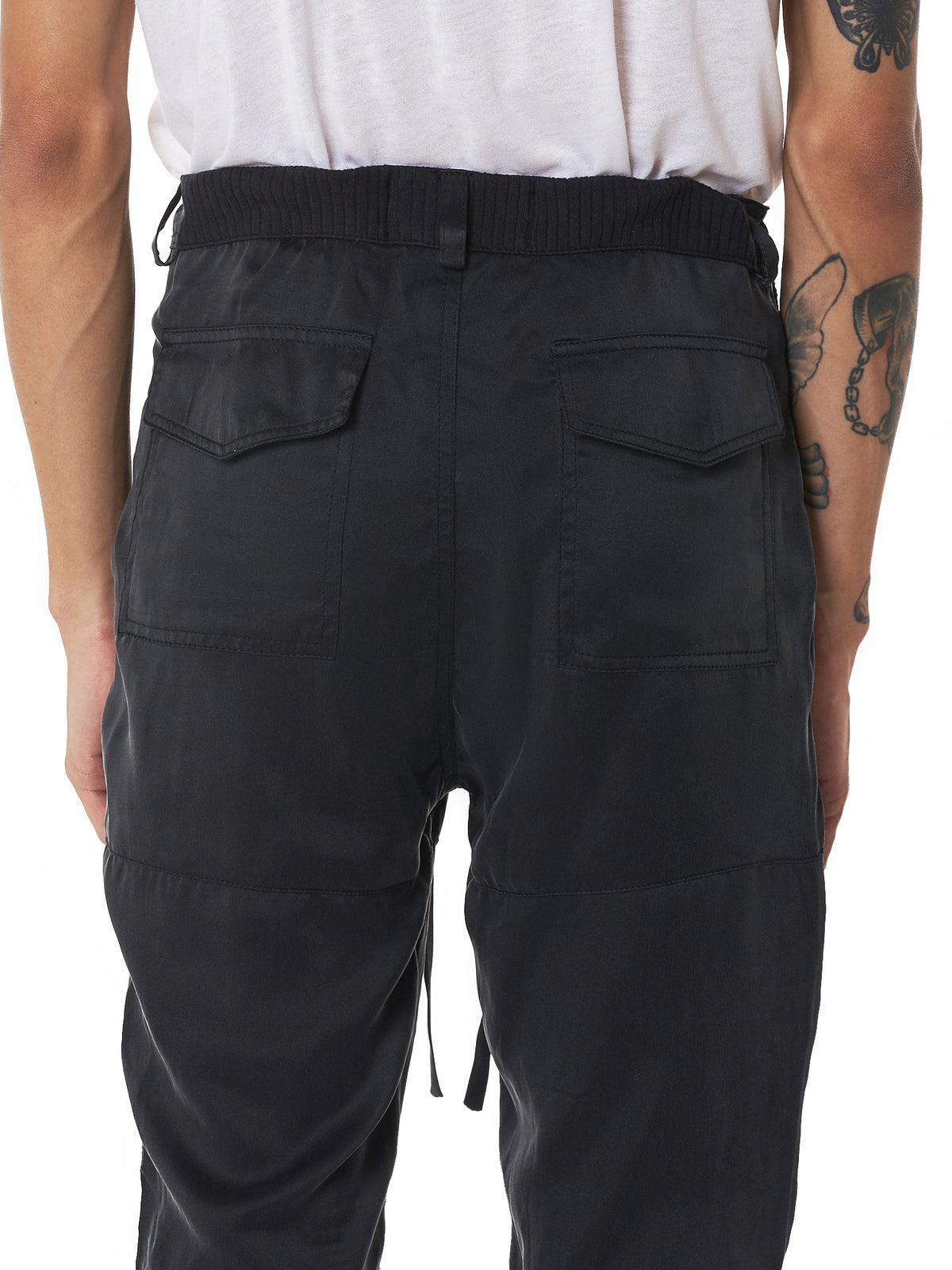 Washed Silk Cargo Joggers (SKC001-BLACK)