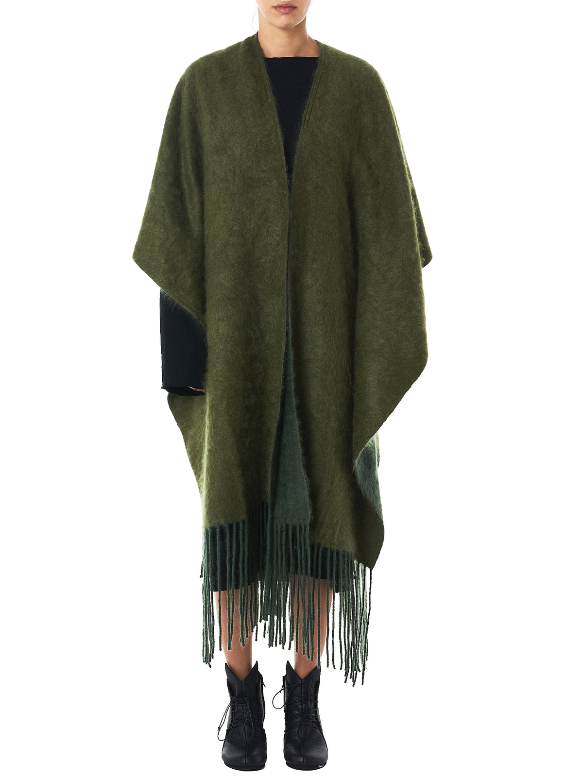 Reversible Cashmere Poncho (SOMA-FRINGED-GREEN-ARMY)