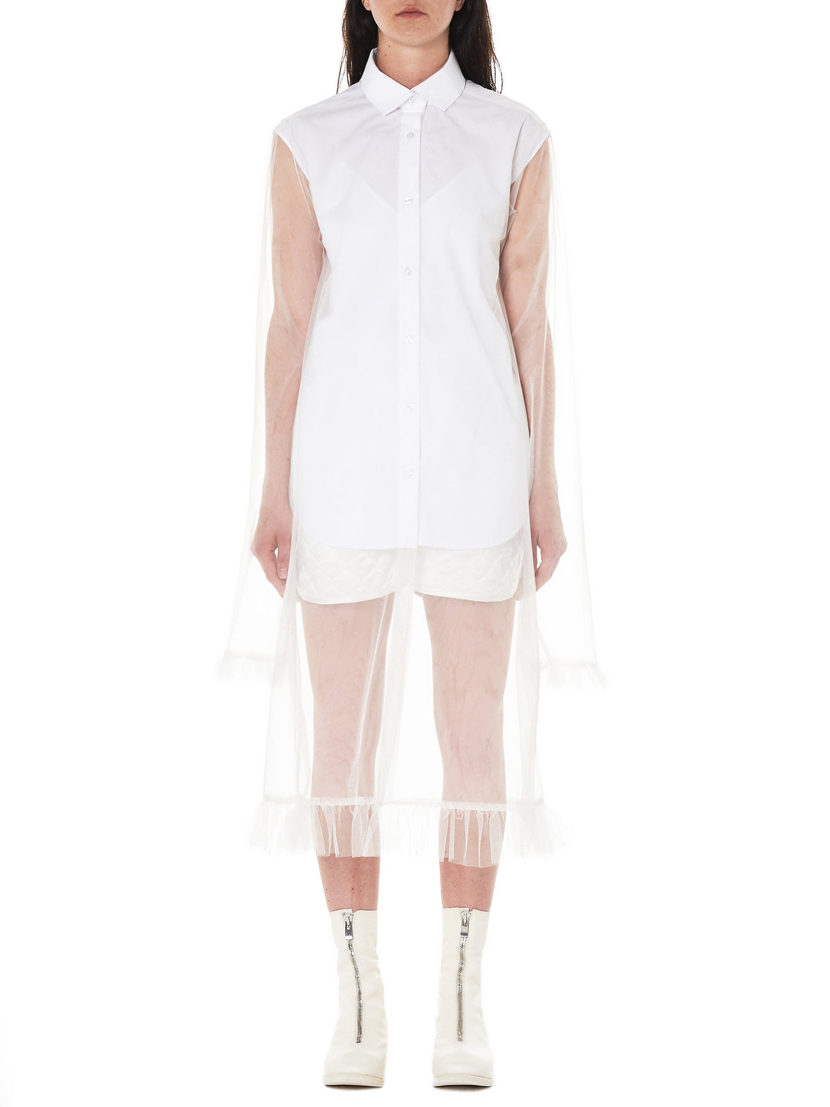 Tulle Shirt Dress (SS046SH-18ACS-WHITE)