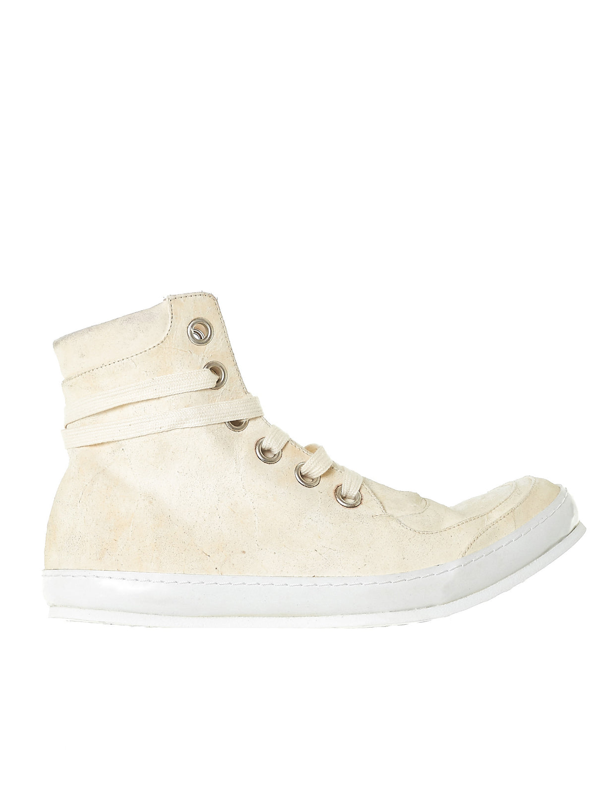High-Top Leather Sneakers (SSN5-HORSE-REVERSE-WHITE) - H. Lorenzo