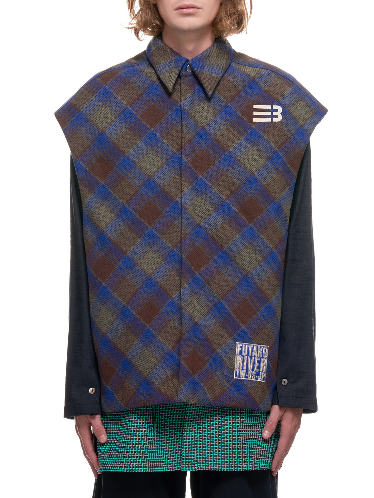 Hampton SL Padded Jacquard Plaid Vest (ST-02A-HAMPTON-B-EB-PLAID)