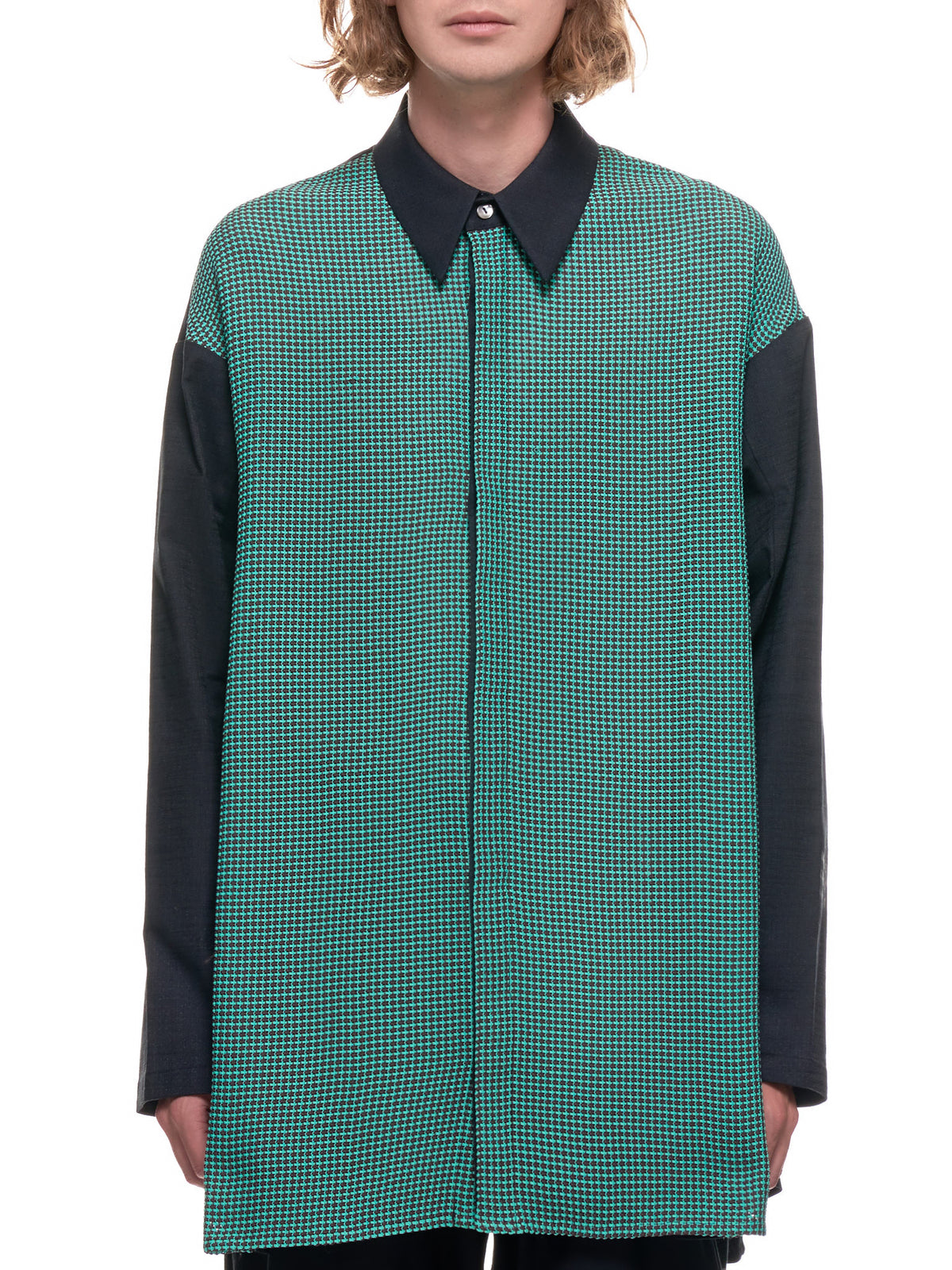 Straw Weave Shirt (ST-03-LINCOLN-BROWN-JADE-GRID)