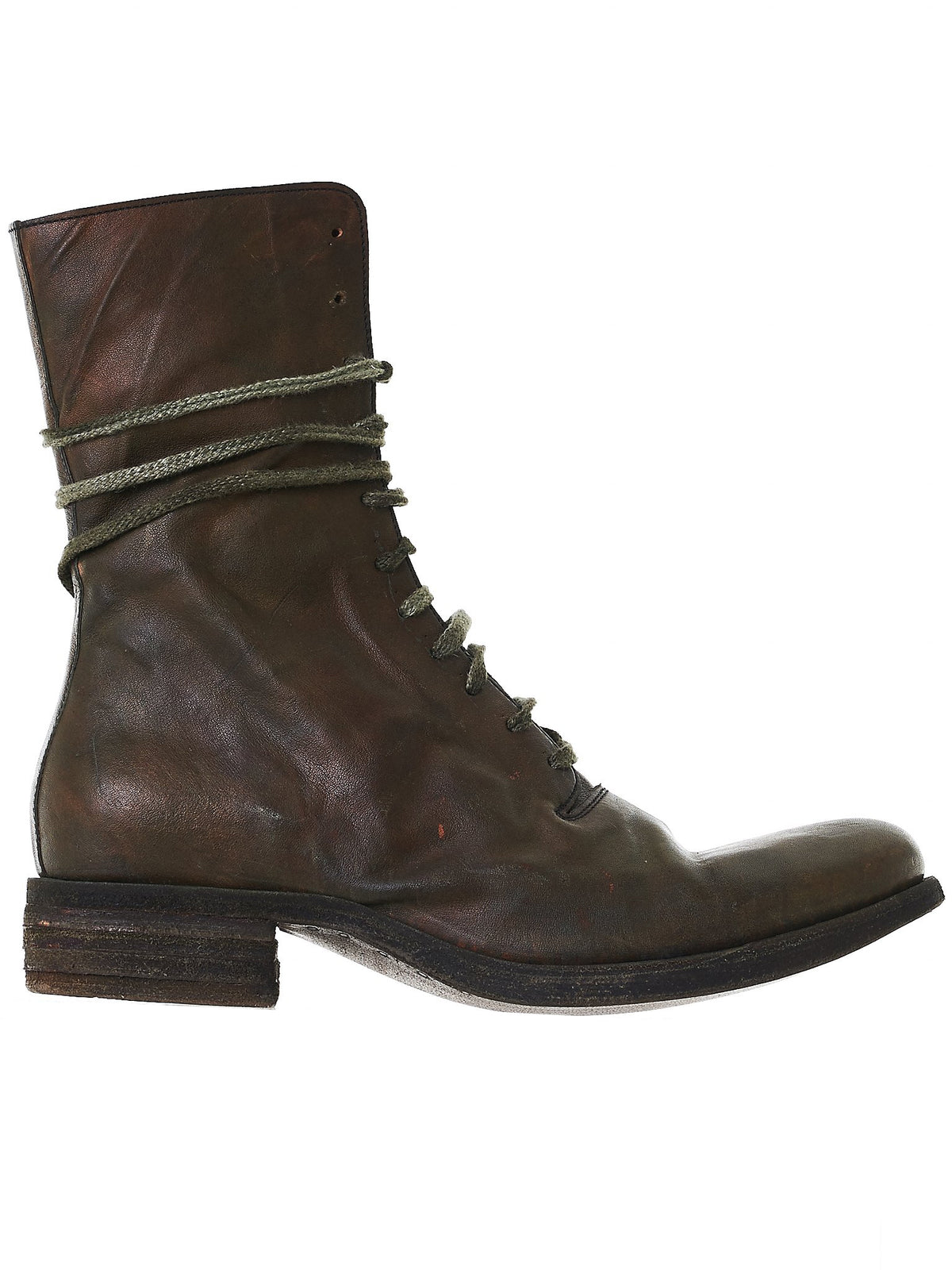 Waxed Leather Boots (ST11 GREY/GREEN)