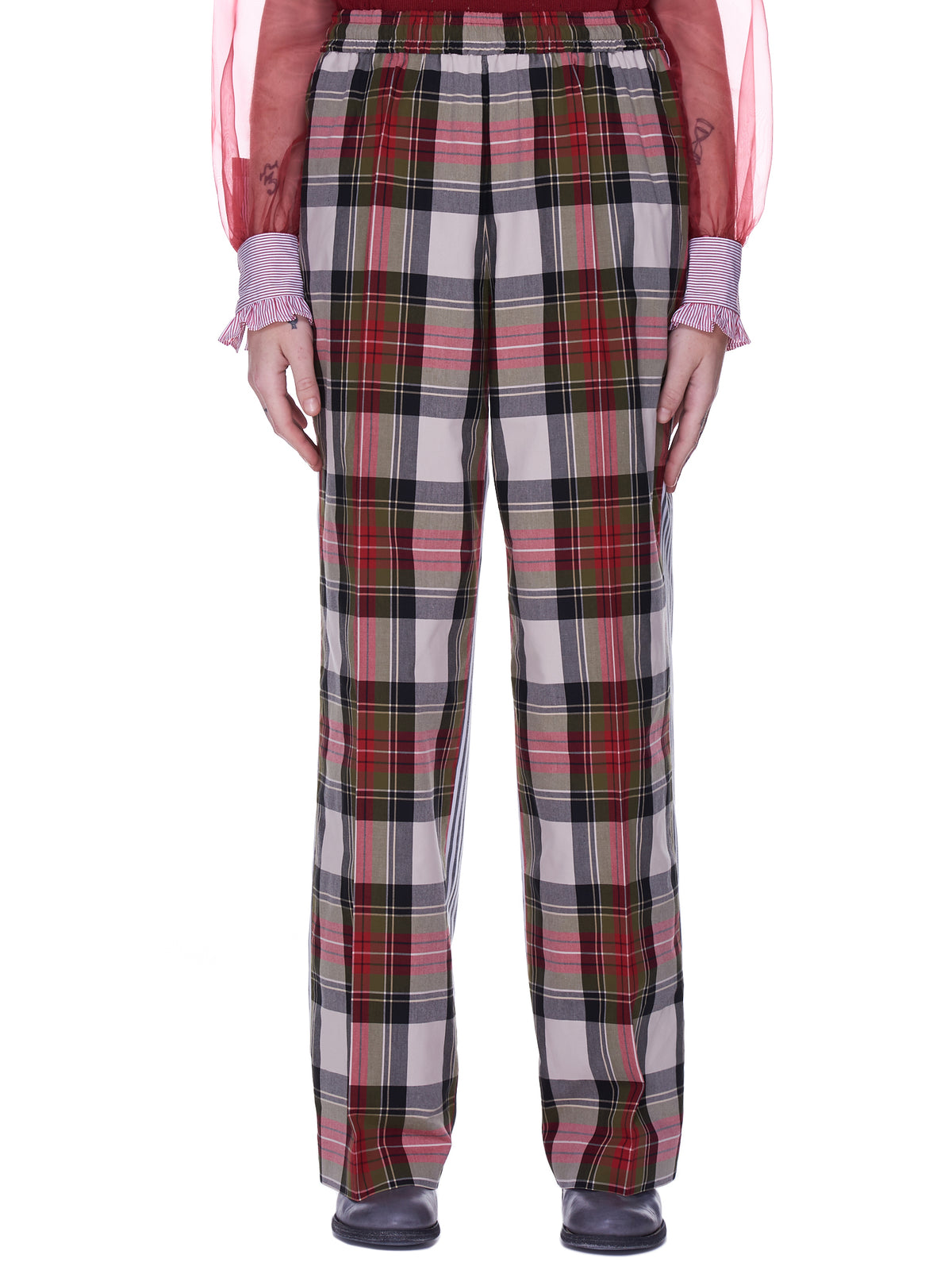 Two-Tone Trousers (SU1A1502-2-RED-CHECK)